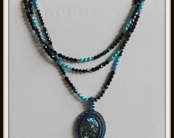 Beaded pendant necklace Swarovski Crystal Necklace Long Beaded Necklace