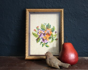 Pansies Needlepoint Picture