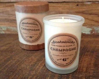 Champagne candle by Alcoholwicks - Champagne and Lavender Candle