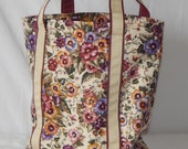Large zippered tote bag, fully lined, pansy, pansies