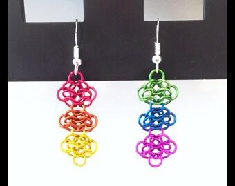 Gay Pride Charity Earrings - Rainbow Chainmaille