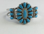 Vintage Navajo Turquoise Needlepoint Sterling Childs Cuff Bracelet Signed HB
