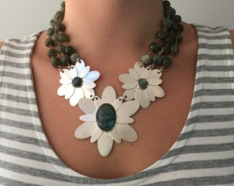 Handmade Large Triple Flower Necklace in Labradorite