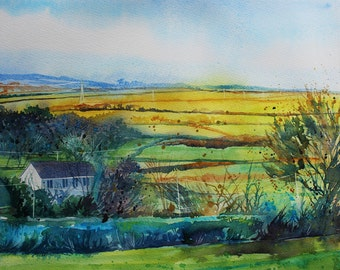 Original watercolour landscape, Cornwall landscape, Fields of Gold, English summer landscape, Cornish view, fields and hills