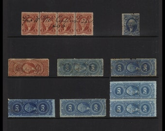 Classic Antique (1862 - 1873 Vintage U.S. Internal Revenue Civil War era Tax Stamps - Various Colors, Denominations, Values) Old Collection!
