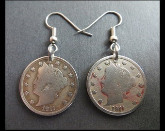 """Classic Antique (1911 Vintage - 5c """"LIBERTY Head & 13 STARS"""" FiVe Cent Coin Earrings with Hypoallergenic Hooks) Victorian Steampunk CHARMS!"""