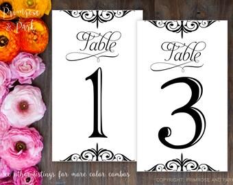 Modern Table Number Cards // Printable Digital File // Modern Style // Instant Download PDF