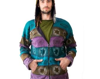 Patchwork Hoodie wirh Fleece Lining Pointed hood - cotton - purple -Fleece lining -  Elf -  Men - Women