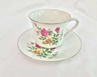 Yellow and Pink rose cup and saucer