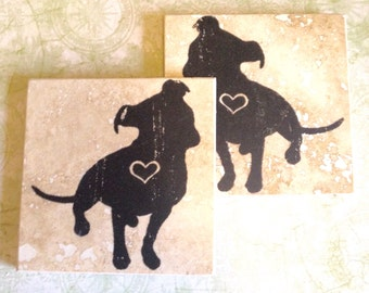 Pitbull Love Coasters (Pair of 2 Available) Pitbulls, Dogs, Rescue, Drink Coasters, Gift Ideas, Animals