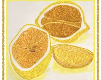 NEW! GOLDEN LEMONS. Colorful and hand drawn notecard