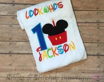 Personalized mickey mouse birthday onesie/shirt