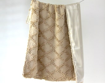 LUX Baby Blanket, Sand Minky with Sand Silky Satin Charmeuse