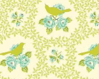 Baby Bedding Crib Bedding - Green Aqua Mockingbird, Lace, Floral