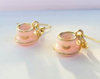Pink Teacup Earrings