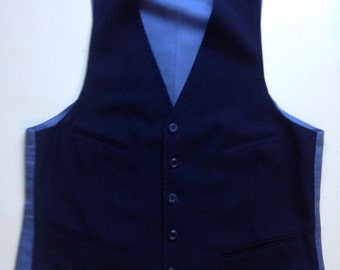 Vintage 1960's 1970's Navy Wool Menswear Vest - 40 regular