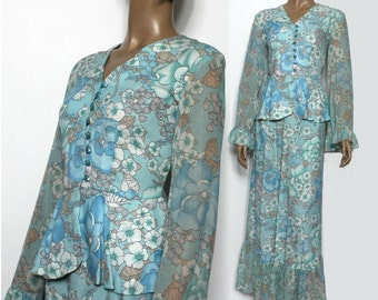 Vintage 1960s Dress// Floral Maxi Outfit//Peplum Jacket //Hippie Dress//Flared Sleeves//