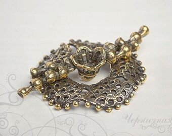 Large Brass Toggle Clasp - Handmade Toggle - Natural Clasp - Aged Toggle - Handmade Findings L3035(1)