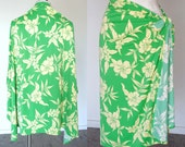 70s Green Hawaiian Flower Sarong Stretch Polyester One Size Hibiscus floral