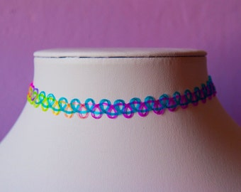 Tattoo Choker Multi Colored Rainbow Necklace Retro 90s / For Her