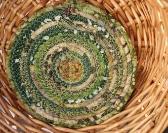 Forest green coiled trivet
