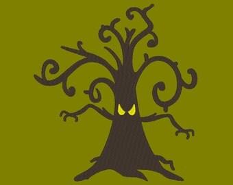 Haunted Tree Halloween Embroidery Machine Design