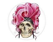 A0024 - Rock & Roll Skull, Pink Hair, Cross, Bandana - Digital Print for Instant Download. Printable Illustration. PNG, JPG files 8x10''.