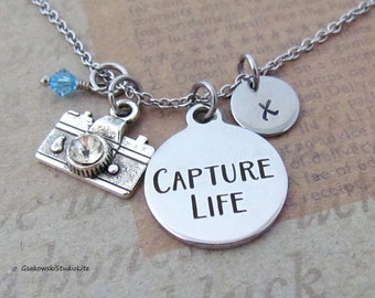 Capture Life Camera Charm Necklace, Personalized Hand Stamped Initial Monogram Birthstone Antique Silver Photographer  Charm Necklace