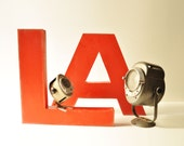 Vintage Large Industrial LA Metal Letter Signs - Home Decor - Wall Letter