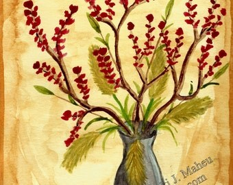 Still Life floral, brown, contemporary art, flower in vase, watercolor,, warm earth tones, home decor, wall art, blossom print, Item # SLF-P