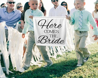Here Comes the Bride Sign Here Comes the Bride Banner Ring Bearer Sign Ring Bearer Ideas Flower Girl sign Ring Bearer Sign Ideas