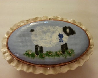 Ceramic Container with Lid - Sheep Pattern