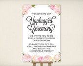 """Instant Download, Unplugged Ceremony Sign 24""""x36"""", Print Ready Wedding Sign, Wedding Decor Template, DIY Printable PDF and JPEG (UWP11)"""