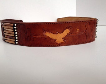Native American Indian Leather Guitar Strap