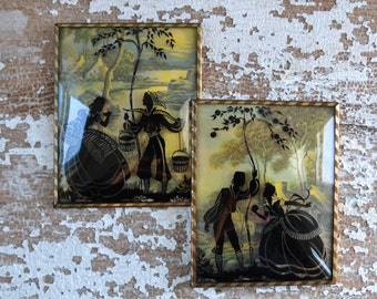 Antique Silhouette Pair with Domed Bubble Frame - Vintage Reverse Painted