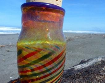 Handblown Glass Jar Green and Red Stripes and Purple Lip