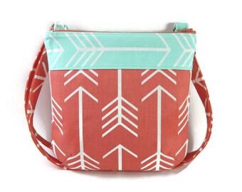 Small Crossbody Purse, Crossbody Tote, Crossbody Bag in Coral and Mint Arrow Print