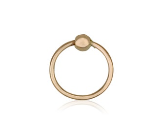 Tragus | Nose ring | septum ring | 14k solid yellow gold piercing  with ball | small hoop earring |
