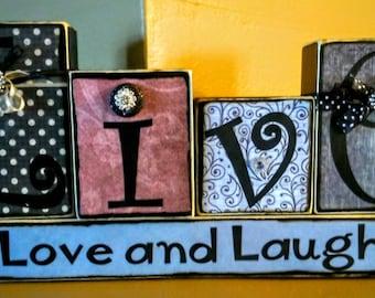 Live Love and Laugh wood blocks