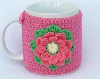 Pink crochet mug cozy