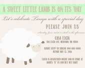 A sweet little lamb baby shower invite, size 5x7 DIGITAL FILE