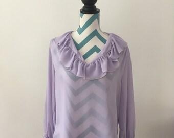 Vintage 70s Ruffle Blouse Long Sleeve Sheer Top Lilac Lavender Purple Shirt Large XL