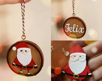 Personalised Saint Nicholas papercut wood slice christmas decoration/ ornament