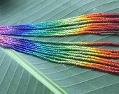 "8"" Long ""Maui Rainbow"" Delicate Glass Seed Bead Earrings"