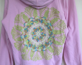Upcycled clothing, upcycled doily hoodie
