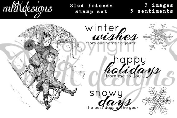 Sled Friends Digital Stamp Set