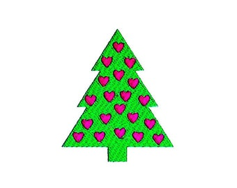 Christmas Tree Hearts Embroidery Design