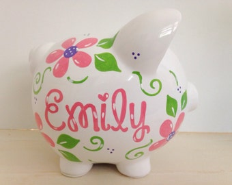 Personalized Hand Painted Piggy Bank With Flower Theme