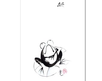 Ready for the moment - signed print of Sumi-e frog