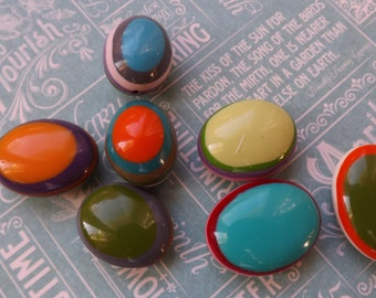 Lucite Beads , oval beads , bright beads , primary colors